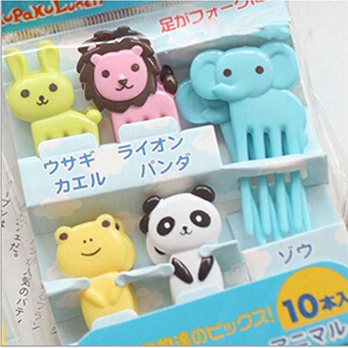 Vivian Lovely Animal Food Fruit Picks Forks Lunch Box Bento Accessory Decor Pack of 10/8 PCS (Style 1)