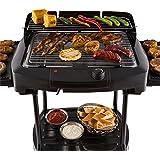 OneConcept Dr. Beef II Grill de Table Grill extérieur Barbecue sur Pied BBQ Puissance de 2000W Pied Amovible Température Réglable Répartition Homogène de la Chaleur Noir