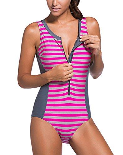 3e38d06b63e4e Sidefeel Women One Piece Swimsuit Monokini Zipper Front Swimwear