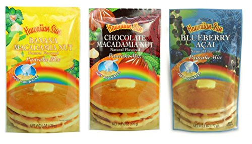 Hawaiian Sun Pancake Mix 3 pack (Blueberry Acai, Chocolate Macadamia Nut, Banana Macadamia Nut) by Hawaiian Sun