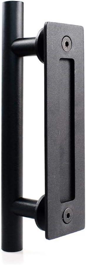 NUZAMAS Manija de puerta de acero inoxidable, manija de puerta corredera de granero, juego de tirador y descarga de una sola manija redonda, color negro