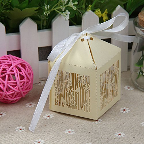 Vktech® 10PCS Branch Birds Paper-cut Wedding Candy Boxes Party Favors Sugar New (Gold)