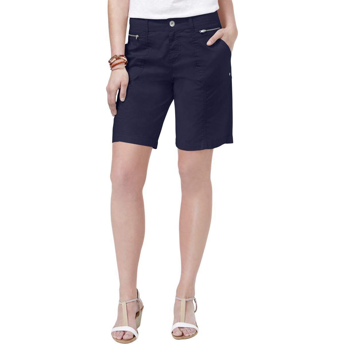 Style & Co. Womens Petites Mid-Rise Zip-Detail Casual Shorts Navy 10P