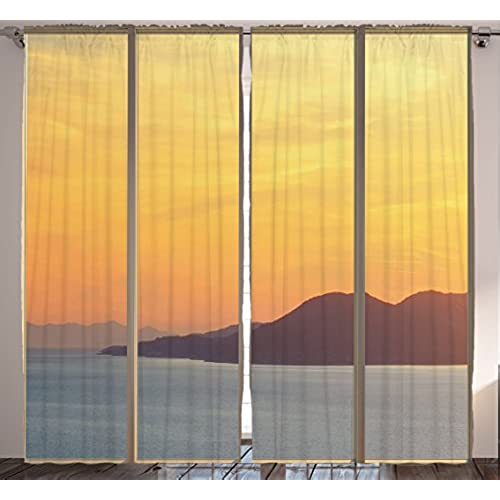 Dining Room Curtains Nature Decor By Ambesonne, Seascape Beach Sunset  Seaside Hills View Picture, Bedroom Living Room Curtain 2 Panels Set Modern  Home, ...