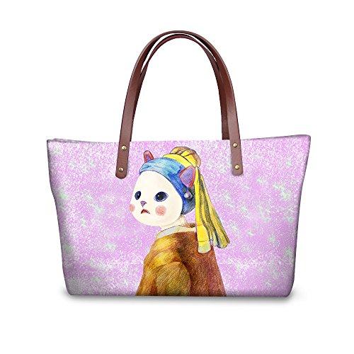 Handle Purse Stylish Foldable Satchel Wallets W8ccc1879al Bags Handbags FancyPrint Women Top Wawp6qpx0