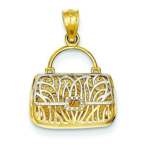 14K Two Tone Gold Reversible Heart Purse Charm Pendant
