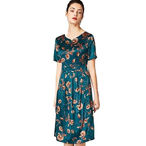 Women`s Cotiledone Elegante Vita Stampati Linea Libera Vestito Verde Una Abiti TxxrwS