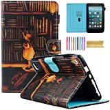 how to build a built in bookshelf Fire 7 Case, Motie Folio Leather Wallet Stand Cover with Credit Card Slots & Pen Holder for A mazon K indle Fire 7.0 inch Tablet (5th/ 7th Generation, 2015 & 2017 Release), Book Shelf