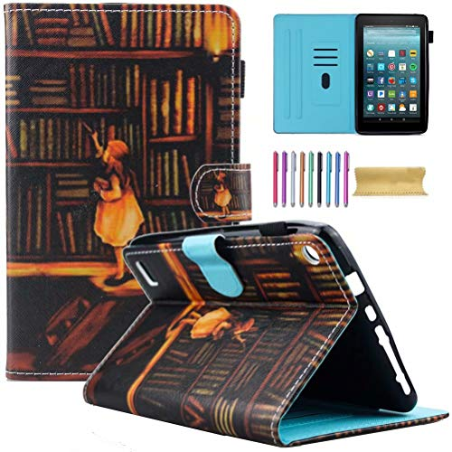 Fire 7 Case, Motie Folio Leather Wallet Stand Cover with Credit Card Slots & Pen Holder for A mazon K indle Fire 7.0 inch Tablet (5th/ 7th Generation, 2015 & 2017 Release), Book Shelf