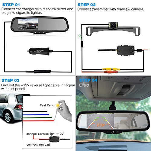 AUTO VOX Wireless Reverse Camera Kit Car Backup Camera with Rear View Mirror Monitor and IP 68 Waterproof Reversing Camera LED Super Night Vision Back Up Car Camera Kit Easy Installation by AUTO-VOX (Image #4)