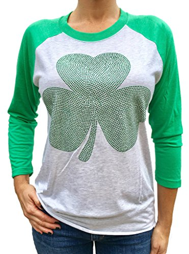 SoRock Studded Shamrock St. Patrick's Day 3/4 Sleeve Tri Blend Raglan Tshirt Xlarge Green - St Patricks Day Shirts For Women