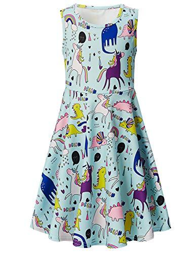 Girls Sleeveless Dress 3D Print Cute Animal Dinosaur Pattern Light Blue Summer Dress Casual Swing Theme Birthday Party Sundress Toddler Kids Twirly Skirt, Dinosaur, 4-5T