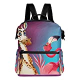 Laptop Backpack Lightweight Waterproof Travel Backpack Double Zipper Design with Colourful Cartoon Graffiti And Flamingo School Bag Laptop Bookbag Daypack for Women Kids