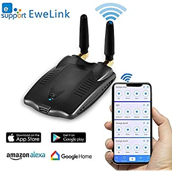 EACHEN RF Bridge WiFi-315/433 Wireless Smart Home Hub Curtain Blinds Garage Door Remote Controller Works With Ewelink Alexa Google Home IFTTT SONOFF RM-DC34