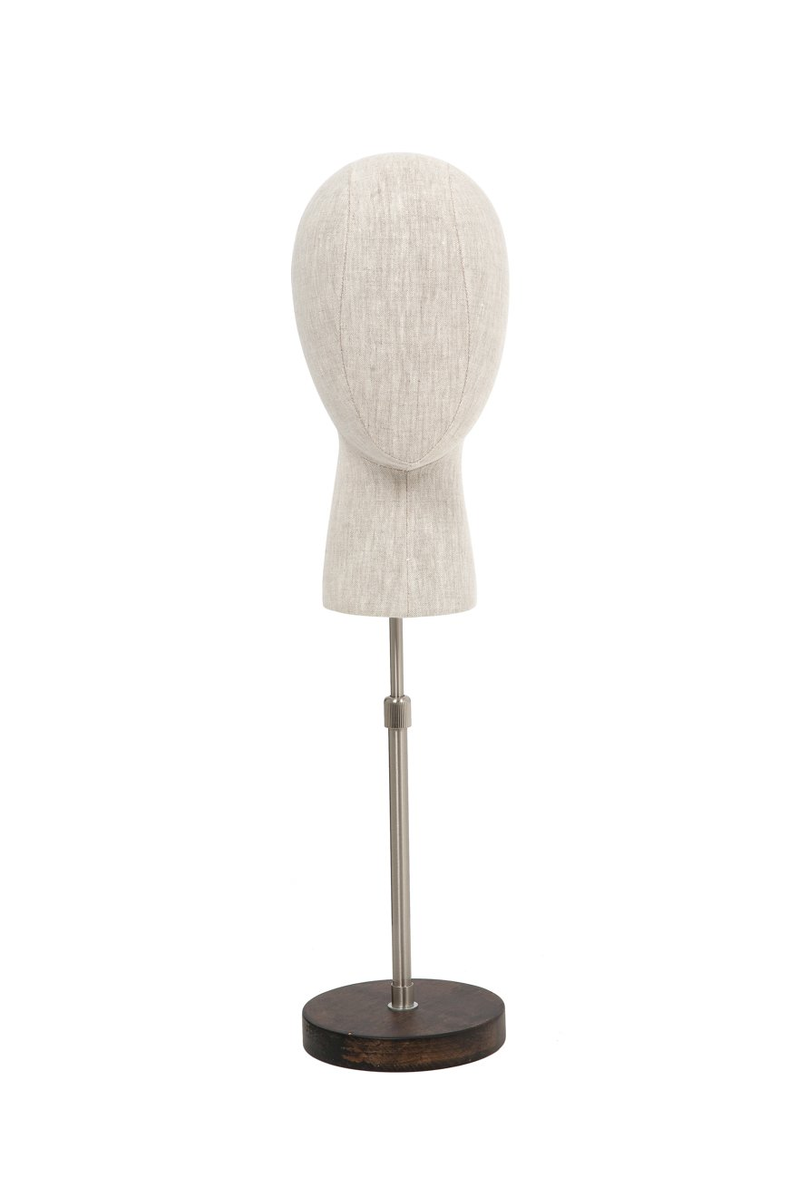 Newtech Display BFF-HEAD1/LINEN Head Display with Wood Base, 23'', Linen Fabric