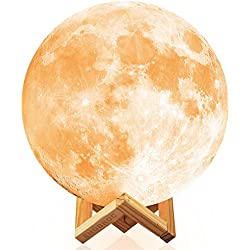 Moon Light, Ehobroc 7.1 Inch Touch Dimmable Brightness Moon Lamp, Glowing Moon Globe Light 3D Lunar Moon Lamp 2 Colors(Cool White and Yellow), Decor Moon Night Light for Bedroom Bedside Children Gifts
