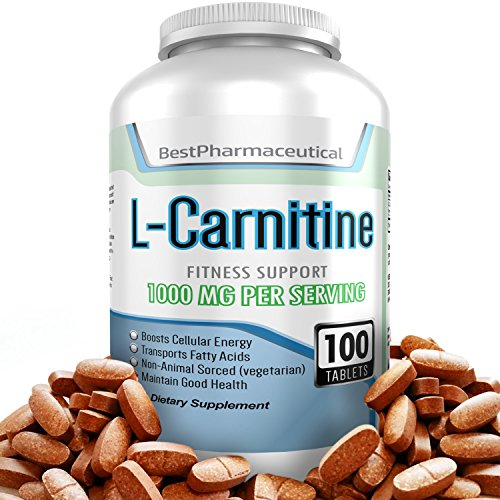 Best L-Carnitine Tartrate - 1000mg - 100 Tablets - Amino Acid Supplement - Boost Cellular Energy Now - Speedy Workout Recovery - Helps Transport Fatty Acids - Improve Brain Function