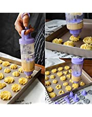 Cookie Gun Discs,Cookie Press, Classic Biscuit Maker, Cake Making Decorating Set with 10 Flower Pieces and 8 Cake Decorating Tips and Tubes for DIY Cake Cookie Maker Decorating