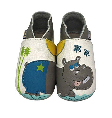 Lait et Miel - Patucos de piel para bebé con diferentes diseños azul Eichhörnchen Talla:6-12 meses hipopótamo