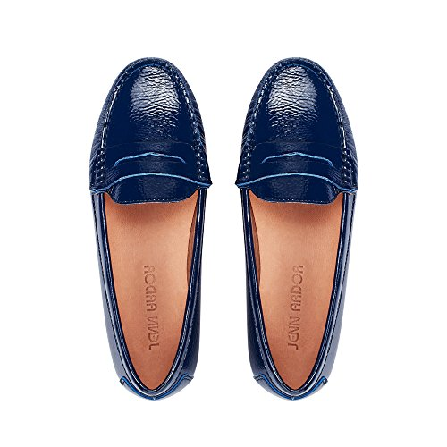 JENN ARDOR Penny Loafers for Women: Vegan Leather Slip-On Comfortable Driving Moccasins Ballet Flats Blue 9 M US (Loafers Blue)