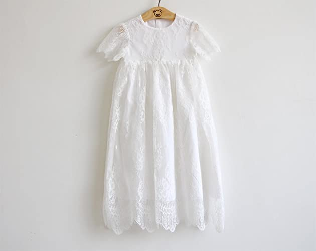 89cf1059c Amazon.com: Handmade White Lace Baby Girl Christening Gown Baptism Dress:  Handmade