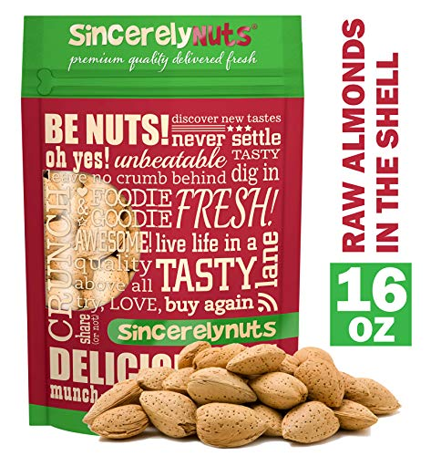 Sincerely Nuts Raw Almonds in the Shell (1 LB) Vegan, Kosher & Gluten-Free-Tasty Snack for the Whole Family-Indulge with Bulk Almonds-Break Into a Great Treat-Make Your Own Almond Butter