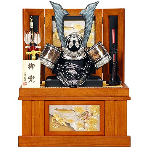 五月人形 着用 兜 収納飾り 中鍬 蔵間 古代塗 25号 幅63cm [sb-20-175] B07N8MMS66