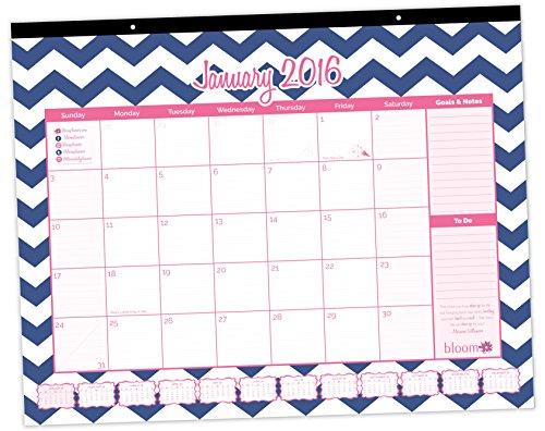 Cute Calendar January 2016 : Bloom daily planners chevron desk calendar cute