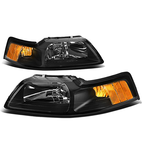 (For Ford Mustang New Edge 4th Gen Pair of Black Housing Amber Corner Headlight)