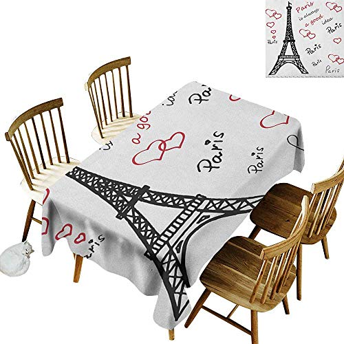 kangkaishi Easy to Care for Leakproof and Durable Long tablecloths Outdoor Picnic Eiffel Paris is Always a Good Idea Tourism Locations Love Valentines W70 x L120 Inch Red Black White -
