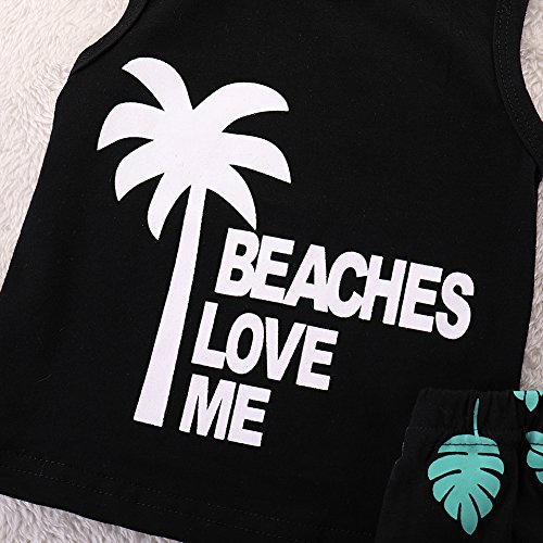 Infant Baby Boys Summer Casual Clothes Set Beaches Love Me Vest Tops +Shorts (Black, 12-18 Months) by Younger Tree (Image #3)