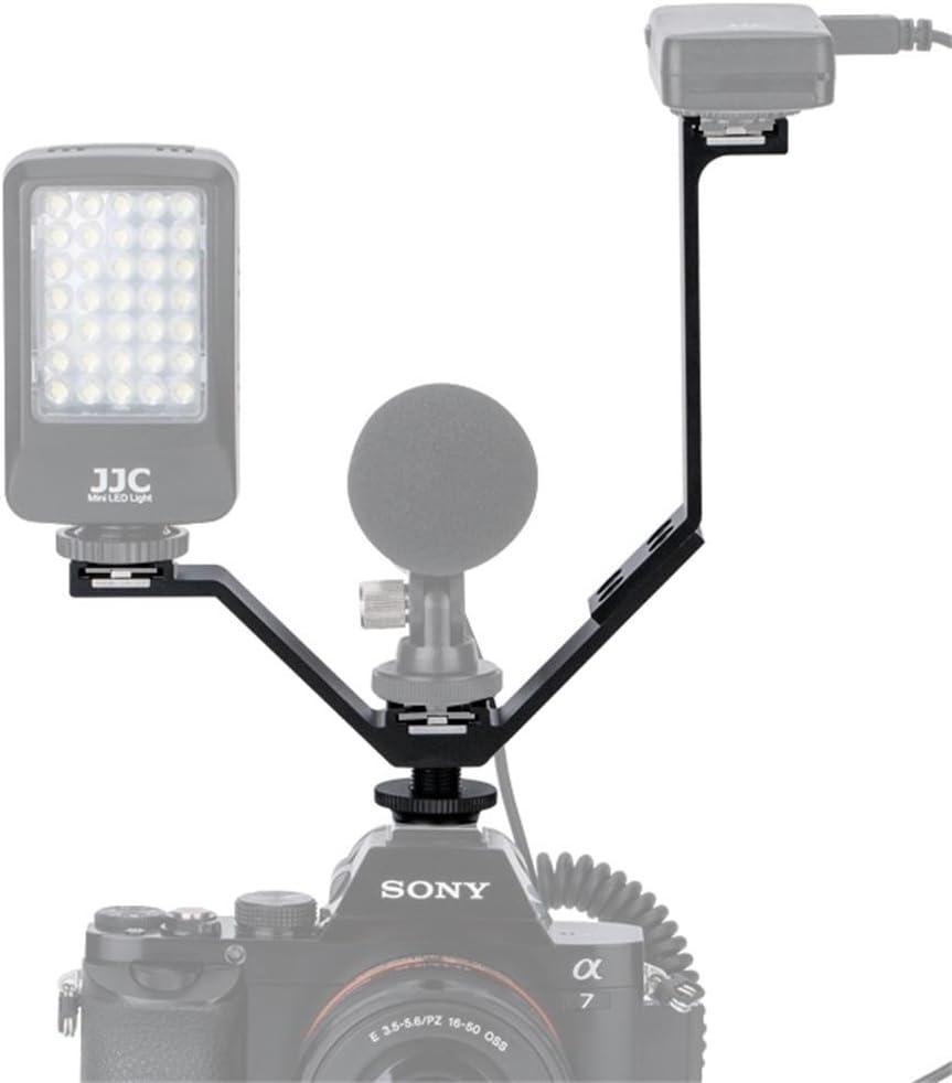 LED Light Kiwifotos 165mm Width 3 Mounts Triple Cold Shoe V Bracket Holder for Canon 5DM3 5DM4 5DS 5DSR Nikon D810 D800 D750 D610 Sony A7II A7SII A7RII Camera Remote Control Receiver Microphone