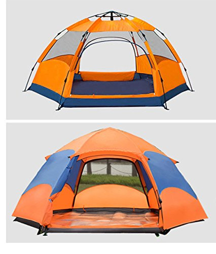 Automatic 4-5 People Outdoor Camping Tent (Orange +Blue) - 3