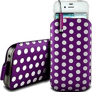 Online-Gadgets UK - HTC Chacha protección pu Polka de cuero con cremallera diseño antideslizante de cordón en la bolsa del caso con cierre rápido y Mini Stylus Pen - púrpura