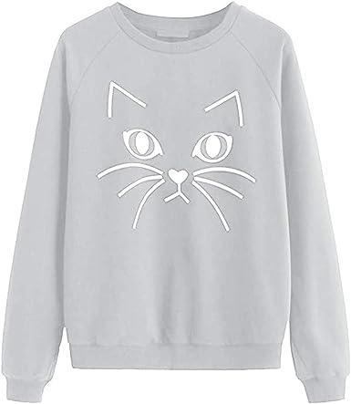 ZHJA Europa Y Los Estados Unidos Caen Damas Nuevo Gato Imprimir Cuello Redondo Moda Damas Suéter Top: Amazon.es: Ropa y accesorios