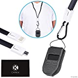 2in1 Kit for Trezor One Bitcoin/Cryptocurrency Wallet - Tailor Made Protective Case - USB Lanyard for Transport, Power and Data Transfer - Carabiner/Tether to Protect Against Loss