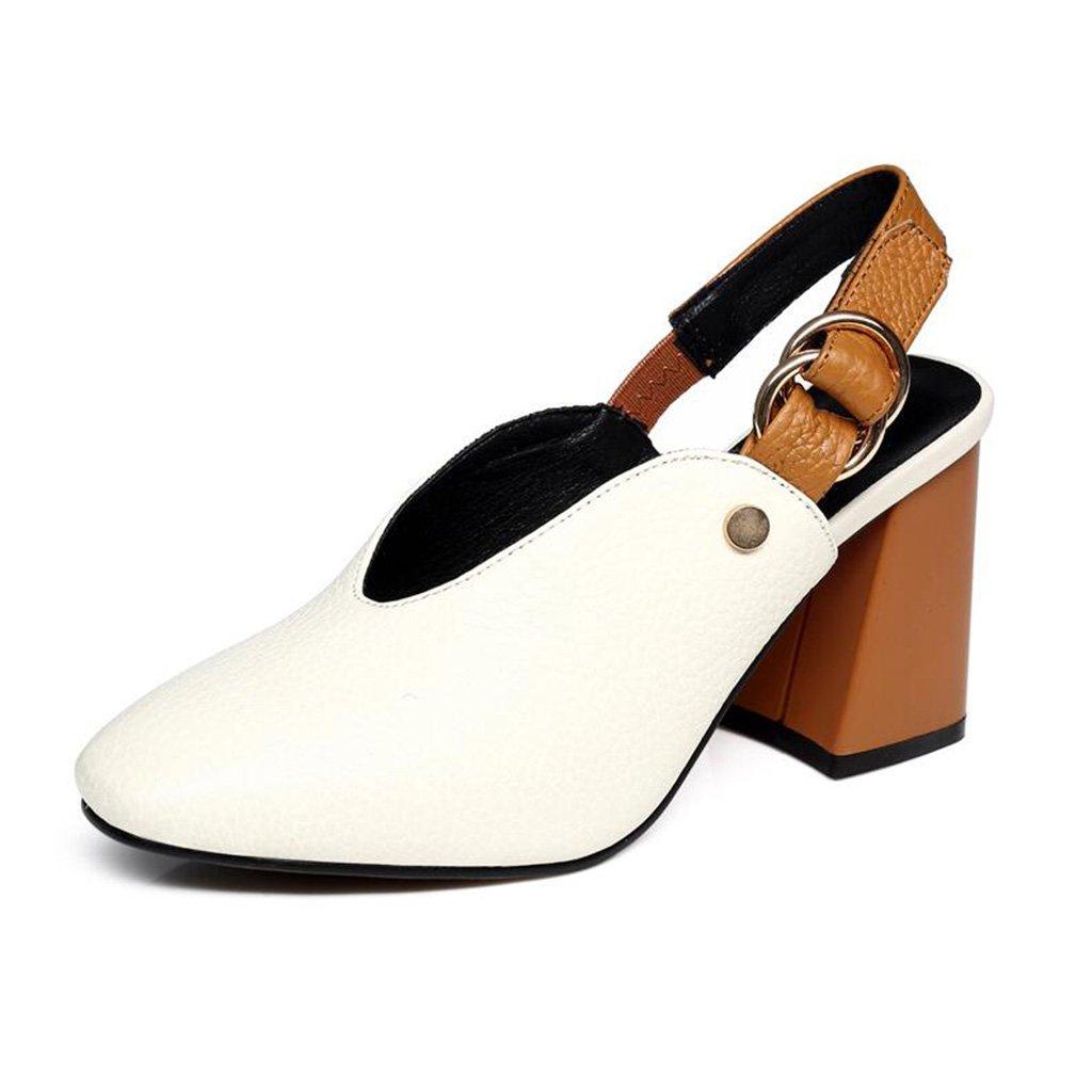 Jingsen Sommer Schuhe Baotou High Heel Sandaletten Frau Gürtelschnalle Leder Heel Sandaletten (Farbe   Weiß Größe   38)