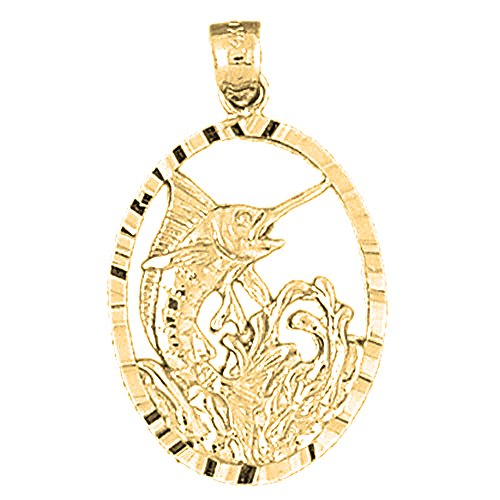 (JEWELS OBSESSION 18K Marlin Pendant | 18K Yellow Gold Marlin Pendant, Made in USA)