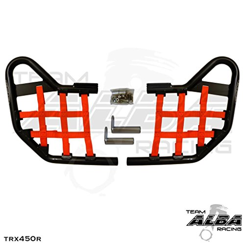 TRX 450R (2004-2009) Standard Nerf Bars - Compatible with Honda - Black w/Red Net