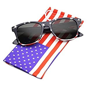 zeroUV - U.S. American Flag USA Stars and Stripes Horn Rimmed Sunglasses (Patriot Series | Stars-Top / Smoke)