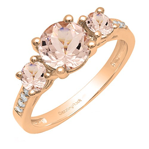 - Dazzlingrock Collection 10K 7 MM Round Morganite And Round Diamond Ladies 3 Stone Engagement Ring, Rose Gold, Size 6.5