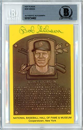 Bob Gibson Signed HOF Plaque Postcard St. Louis Cardinals Memorabilia Beckett Authentic