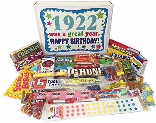 Woodstock Candy 96th Birthday Gift Box of Nostalgic Retro Candy from Childhood for a 96 Year Old Man or Woman Born in 1922