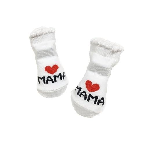 Gemini® Baby Boys Girls Socks Newborn White (MAMA)
