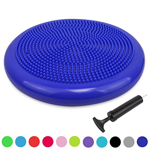 Trideer Inflated Stability Wobble Cushion with Pump, Extra Thick Core Balance Disc, KIDS Wiggle Seat, Sensory Cushion for Elementary School Chair (Office & Home & Classroom) (34cm Royal (4 Thick Cushion)
