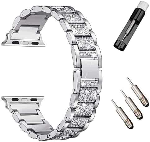 HenMerry Bling Band Compatible for A p ple Watch Band 38mm 40mm Iwatch Series 4 3 2 1 Women Diamond Rhinestone Metal Bracelet Wristband Strap Replacement Watch Bands (38mm 40mm Silver)