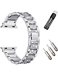 Bling Band Compatible for A p ple Watch Band 38mm 40mm Series 4 3 2 1 Silver Rose Gold Bling Bands Diamond Rhinestone Strap Crystal Metal Replacement for iWatch Strap (38mm 40mm Silver)