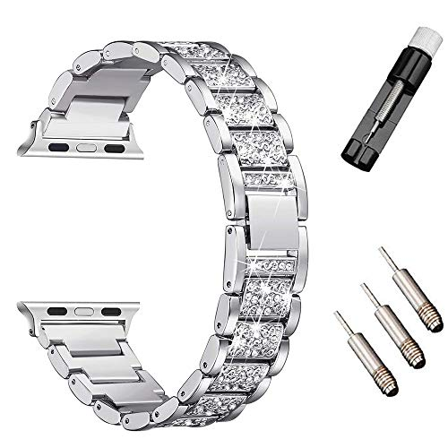 HenMerry Bling Band Compatible for A p ple Watch Band 38mm 40mm Series 4 3 2 1 Silver Rose Gold Bling Bands Diamond Rhinestone Strap Crystal Metal Replacement for iWatch Strap (38mm 40mm Silver)