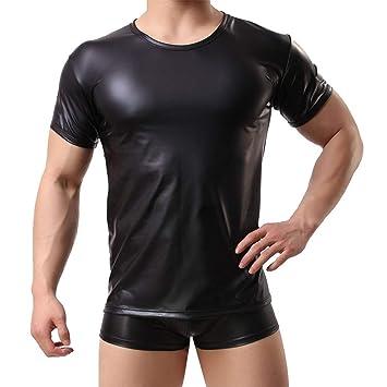 Hombres Imitación Cuero Manga Corta Tops Sexy Elástico Apretado Camisetas Ropa Interior Negro,S