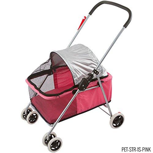 Small Pink Folding Dog Stroller